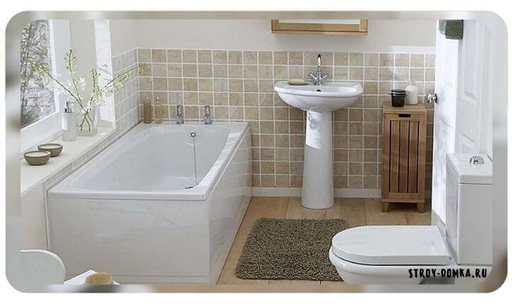 Плитка вокруг ванны и умывальника