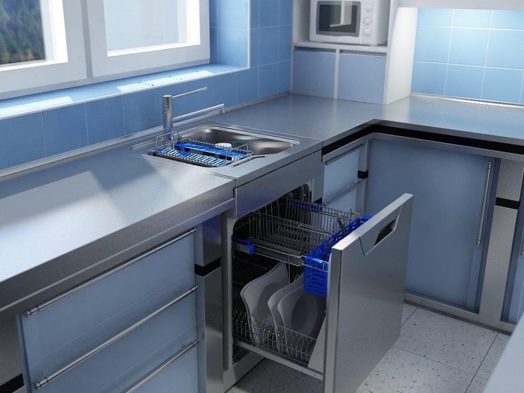 Посудомоечная машина в зоне раковины