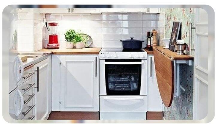 Идеи для маленькой кухни с откидными столами