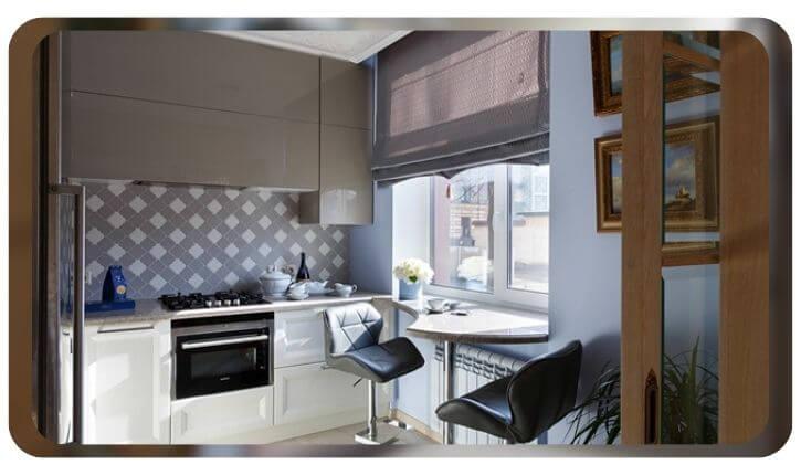 идея стол-подоконник для маленькой кухни