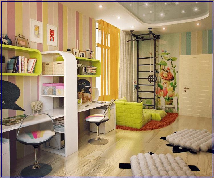 Учебный уголок в дизайне комнаты для девочки