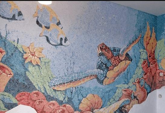 3Д рисунки жидкими обоями в ванной