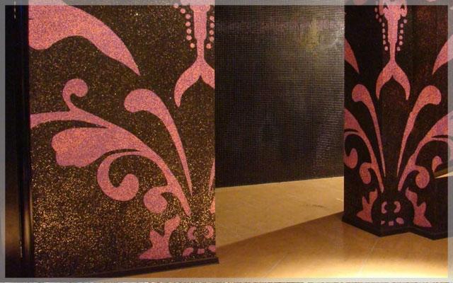 Элементы декора во внутренних работ с мраморной крошкой