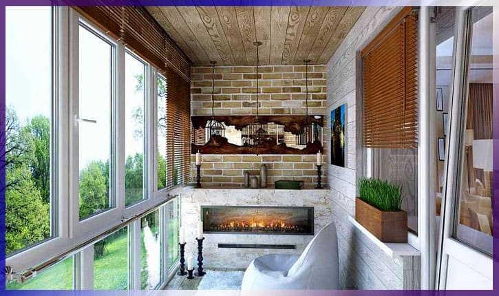 Современный дизайн комнаты на балконе
