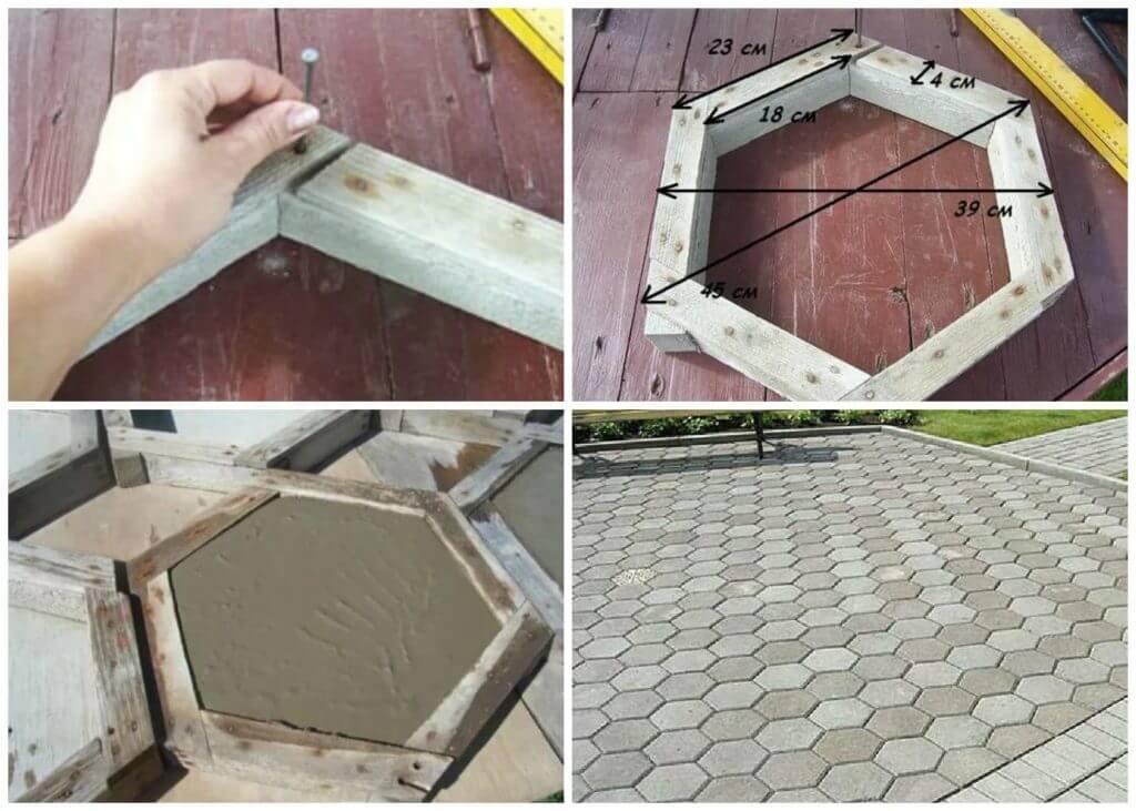 Делаем форму плитки для участка из досок