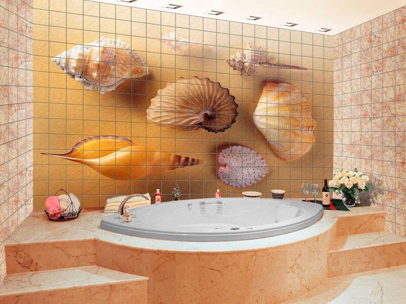 Плитка на стене в ванной увеличиваем пространство