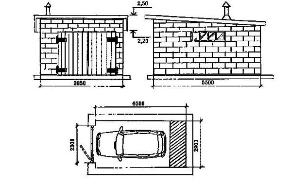 как построить гараж из кирпича размеры