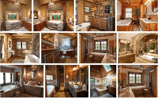 Дизайн санузлов и ванных комнат в деревенском стиле